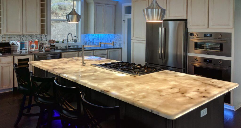 LED light panel back-lighting stone counter top