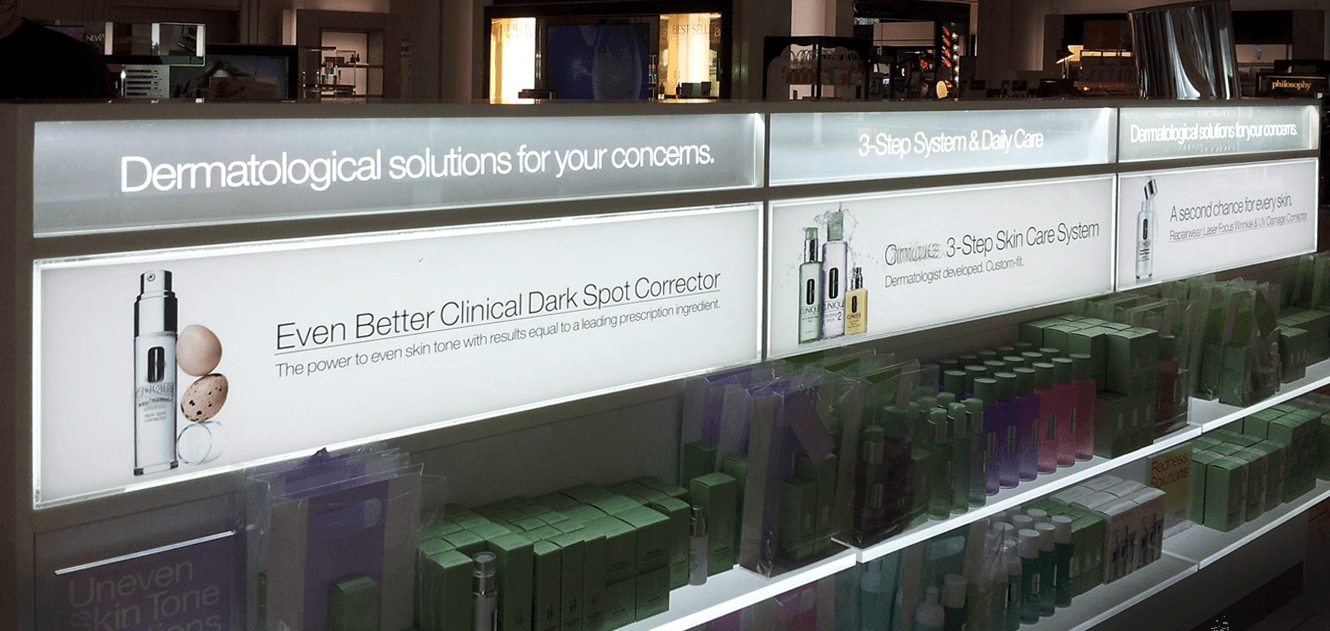 Light panel used to backlight graphics in a retail display
