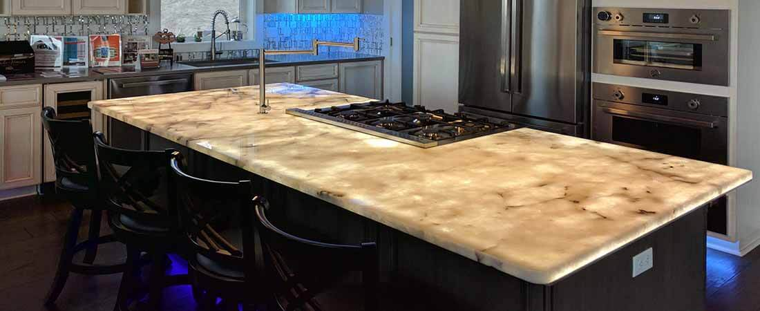 Back lighting kitchen counter top, stone surface
