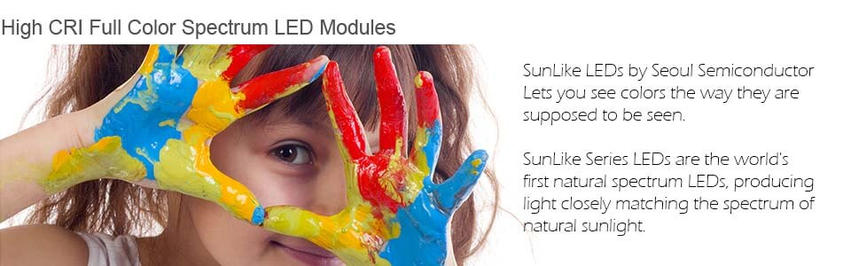SunLike LEDs by Seoul Semiconductor Lets you see colors the way they are supposed to be seen. SunLike Series LEDs are the world's first natural spectrum LEDs, producing light closely matching the spectrum of natural sunlight.